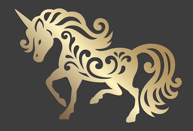 Unicorn silhouette. magic animal. hand drawn vector illustration. mythical horse silhouette. Premium Vector