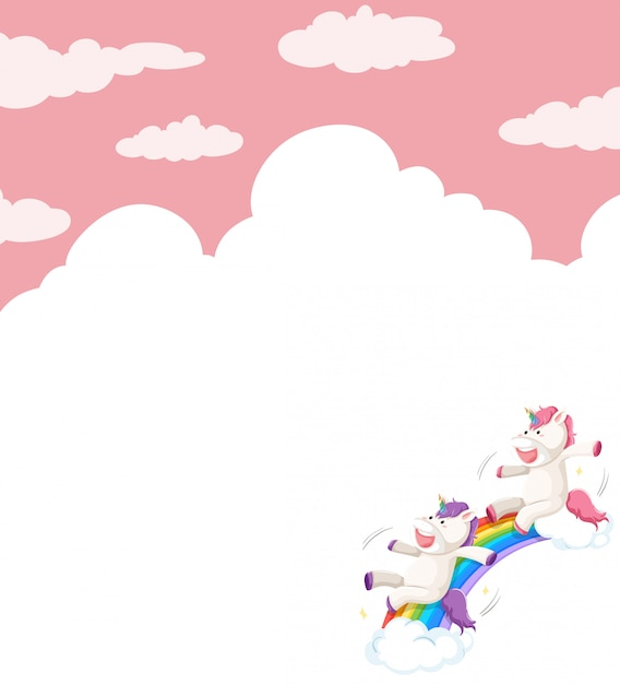 Unicorn on sky background Free Vector