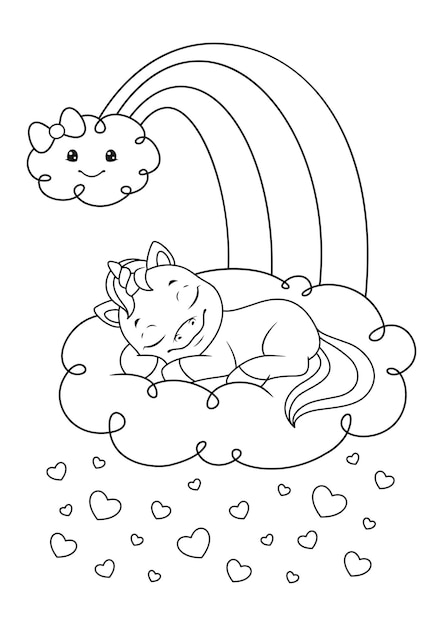 Unicorn sleeping on the cloud coloring page Premium Vector