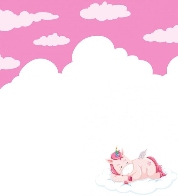 Unicorn sleeping on sky template Free Vector