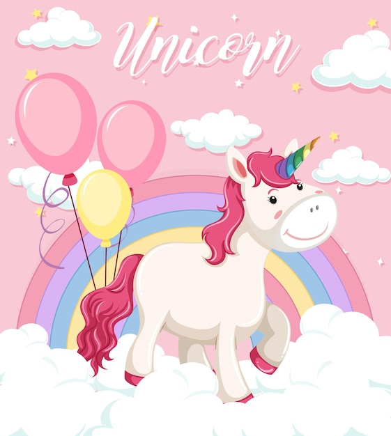 Unicorn stand on the cloud with pastel rainbow on pink sky background Premium Vector