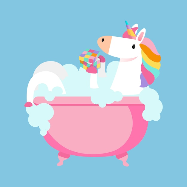 Unicorn taking a bath vector Free Vector