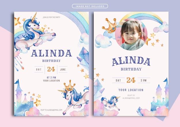 Unicorn theme birthday invitation card template Premium Vector