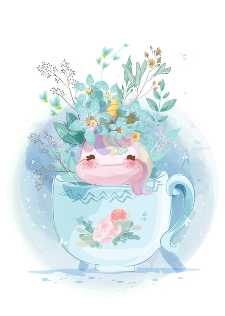 Unicorn in a vintage garden in a glass cup in doodle style. Premium Vector