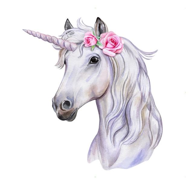 花の花輪を持つユニコーン。白馬。肖像画水彩 Premiumベクター