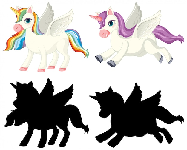 Unicorn with its silhouette Free Vector