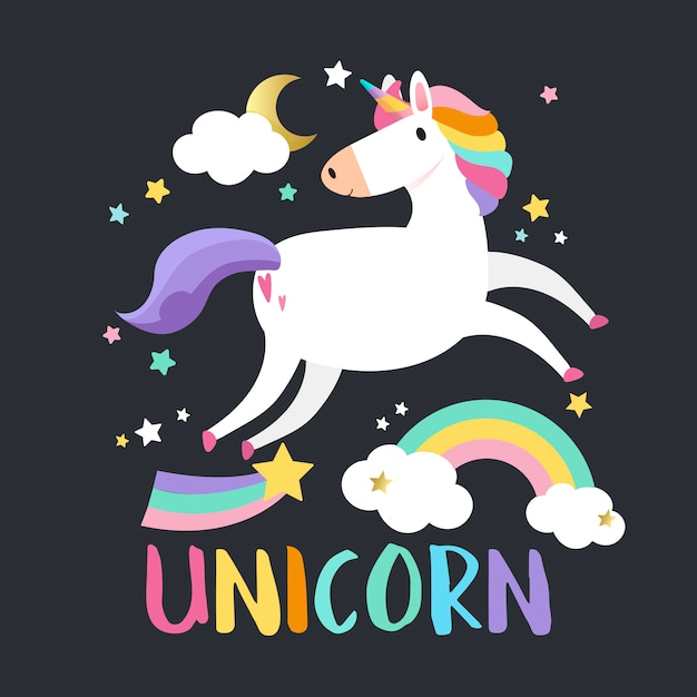 Unicorn with magical elements vector Free Vector