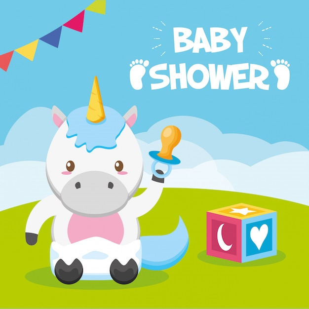 Unicorn with pacifier for baby shower card Free Vector