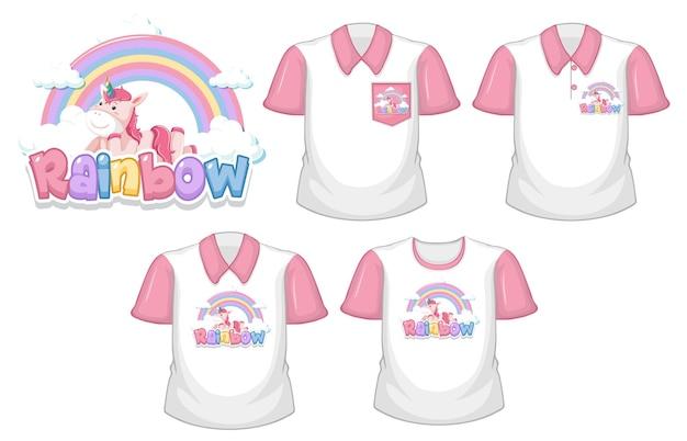 무지개 로고와 흰색 배경에 고립 된 분홍색 짧은 소매와 흰 셔츠 세트 유니콘 무료 벡터
