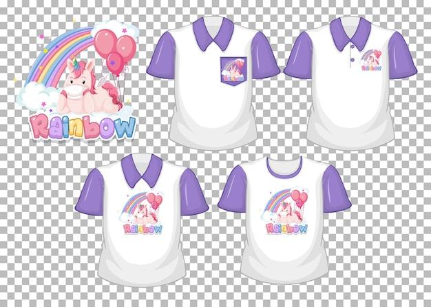 虹のロゴと透明な背景に分離された紫色の半袖の白いシャツのセットとユニコーン 無料ベクター