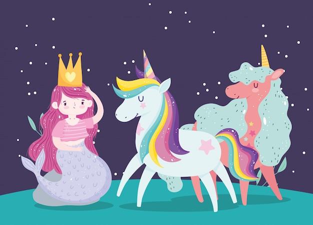 Единороги и русалка с коронной принцессой волшебный мультфильм Premium векторы