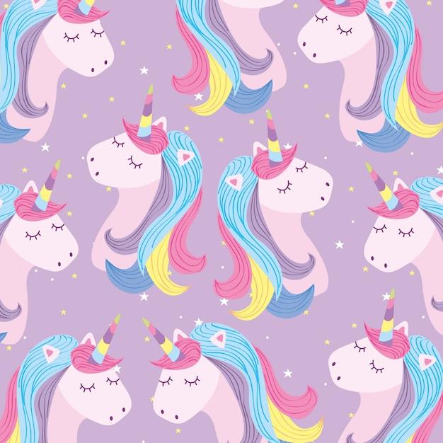 Unicorns background cartoons Premium Vector