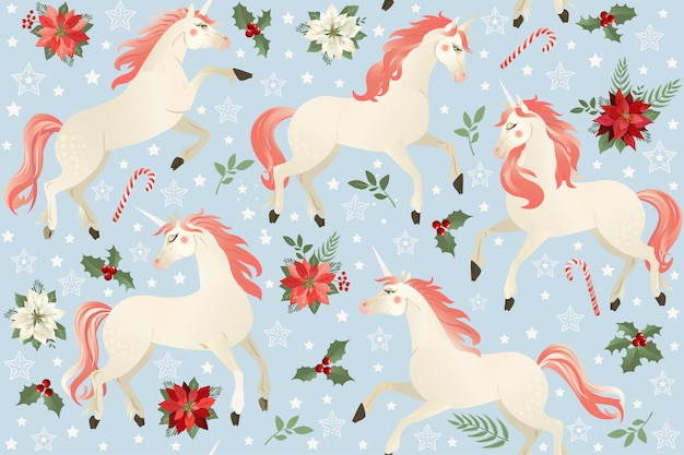 Unicorns on a christmas floral background. seamless pattern. Premium Vector