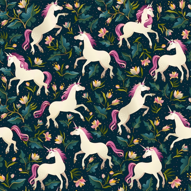 Unicorns on a dark background with a fairy forest. seamless pattern. Premium Vector