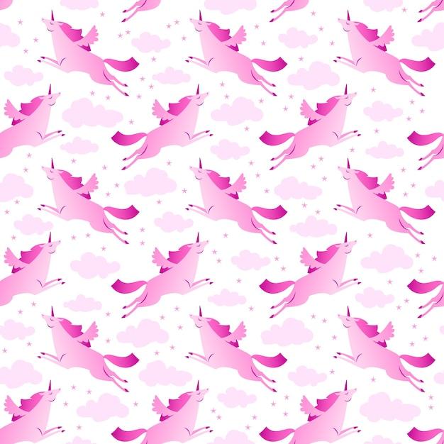 Единороги розовый и белый фон Бесплатные векторы