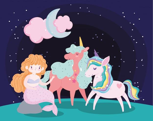 Единороги играют с персонажами русалки волшебный сон мультфильм Premium векторы