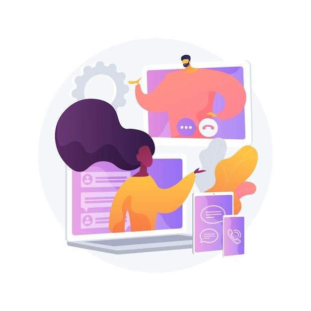 Векторная иллюстрация абстрактного понятия единой коммуникации. платформа корпоративных коммуникаций, последовательный унифицированный пользовательский интерфейс, структура для интеграции аудио-видео в реальном времени абстрактная метафора. Бесплатные векторы
