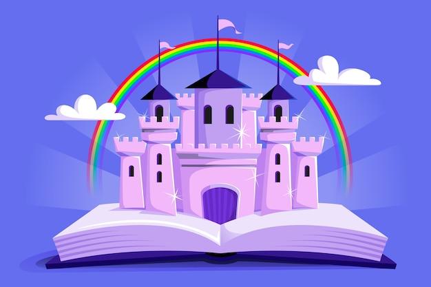 Castello e arcobaleno da favola non immaginari Vettore gratuito