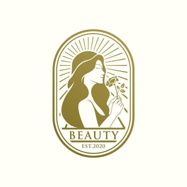독특한 아름다움 골드 여성 로고 템플릿 프리미엄 벡터