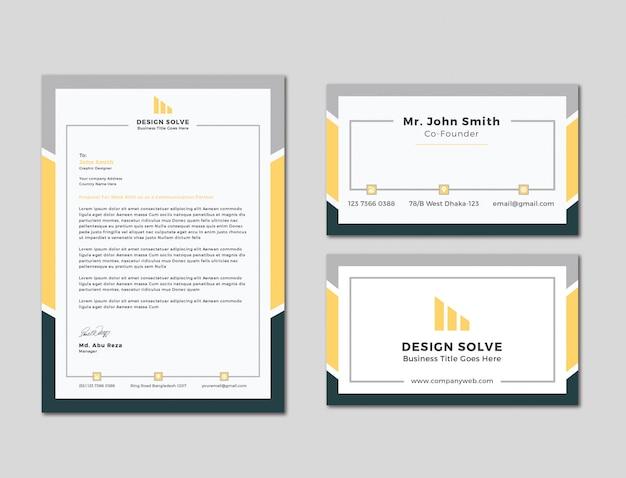 Unique business letter head with business card design Premium Vector