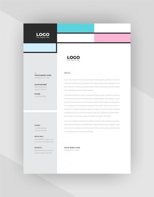ユニークなコンセプト企業のレターヘッドテンプレートデザイン。 無料ベクター