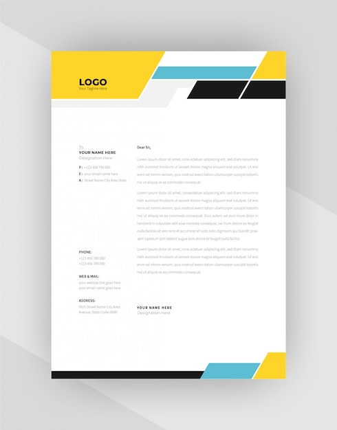 Unique concept corporate letterhead template design. Free Vector