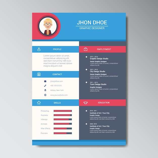 unique flat color curriculum vitae design template with photo or avatar placeholder vector