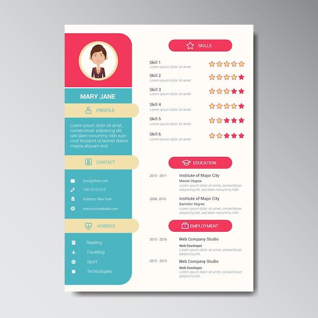 unique flat color curriculum vitae design template with photo or avatar placeholder premium vector - Curriculum Vitae Design Template