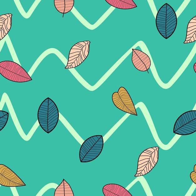 Уникальный ручной рисунок осенних листьев бесшовный узор Premium векторы