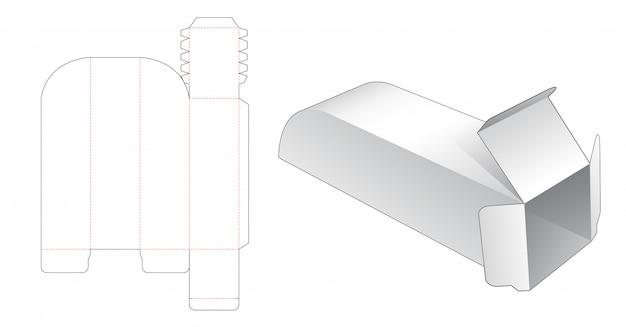 독특한 긴 포장 상자 다이 컷 템플릿 프리미엄 벡터