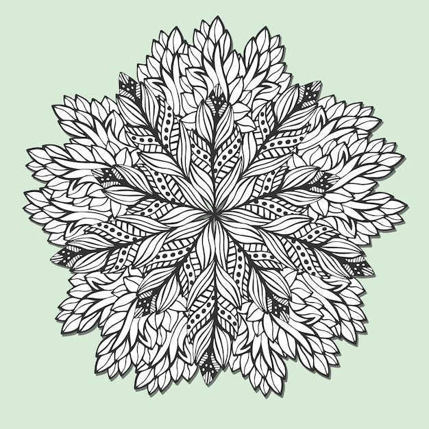 Unique mandala with leaves. round zentangle for coloring book pages ...