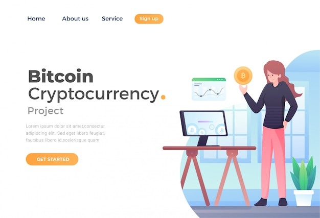 Unique modern flat design concept of bitcoin cryptocurrency for website and mobile website Premium Vector