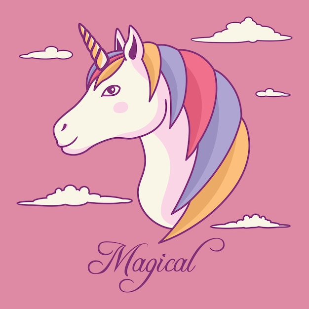 Unique unicorn rainbow hair with horn and cloud background Premium Vector