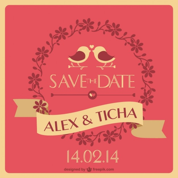 Unique wedding invitation Vector Free Download