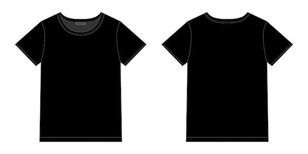 Unisex black t-shirt design. front and back vector. technical sketch Premium Vector