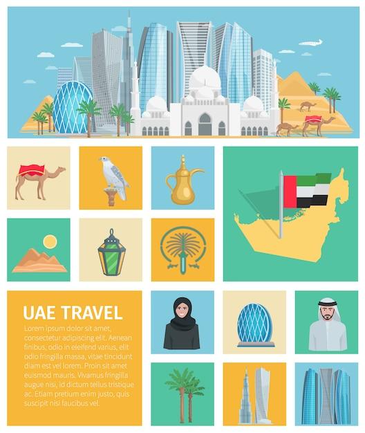 United arab emirates decorative icons set Free Vector