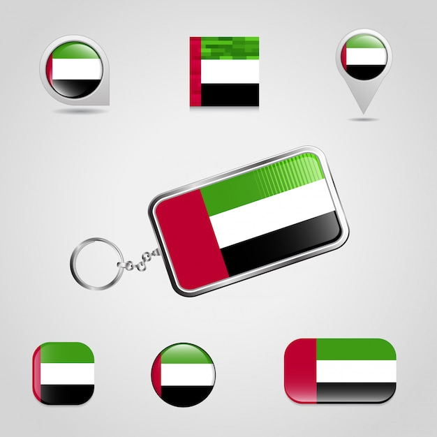 United arab emirates flag design icons set vector Premium Vector