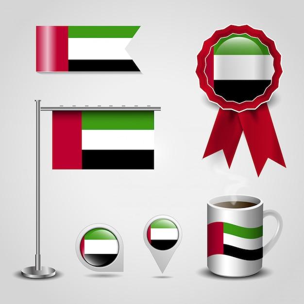United arab emirates flag design icons set vector Premium Vector