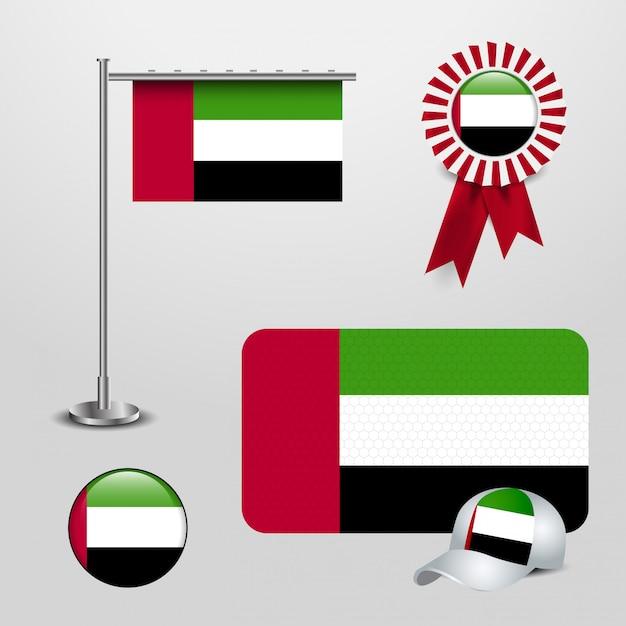 United arab emirates flag design icons set Premium Vector