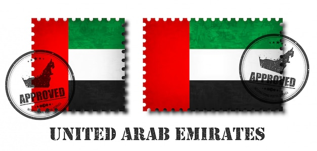 United arab emirates flag pattern postage stamp Premium Vector