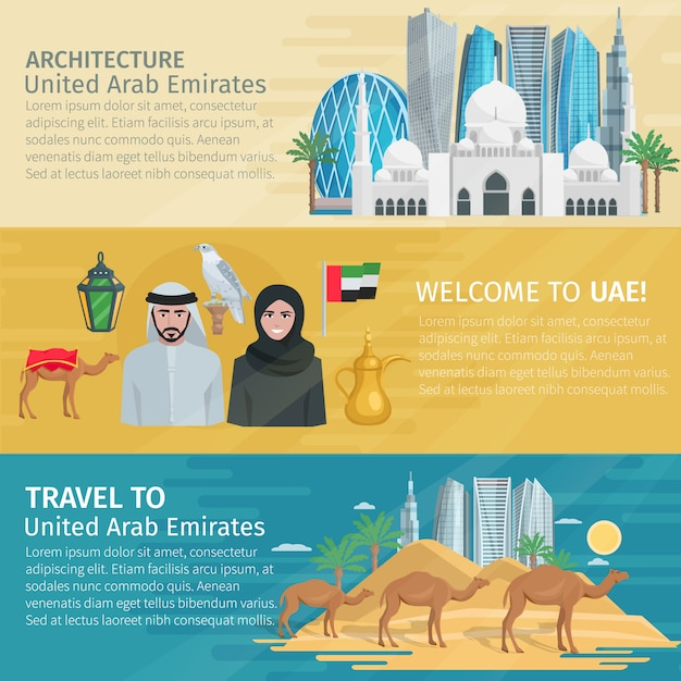 United arab emirates travel banners set Free Vector