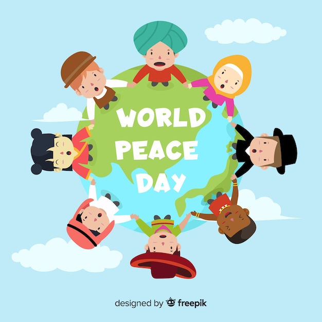 United children holding hands around the world Free Vector
