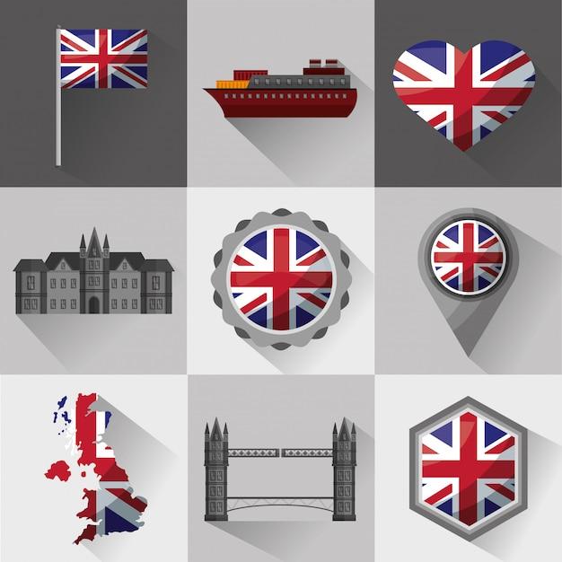 United kingdom country flag Premium Vector