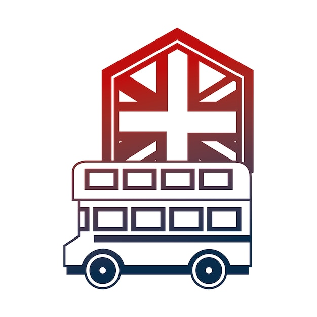 United kingdom double deck bus and flag vector illustration Premium Vector