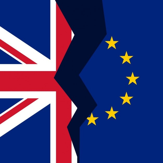 United kingdom and european union broken flag Free Vector