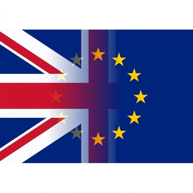 Regno unito e bandiere dell'unione europea fusione Vettore gratuito
