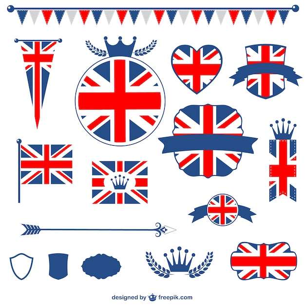 United kingdom flag badges and ribbons Free Vector