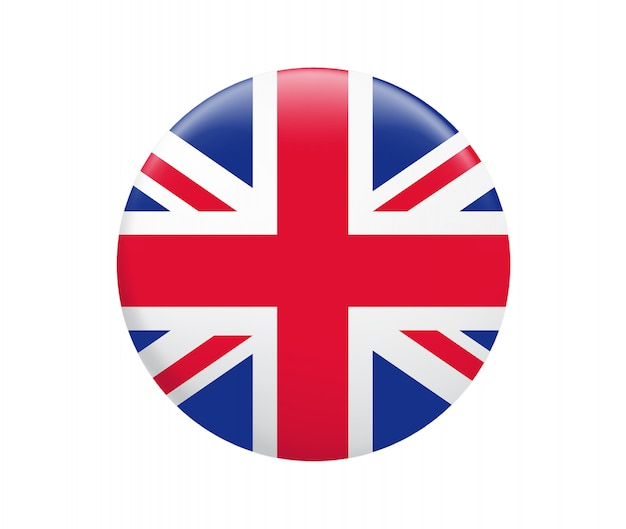 United kingdom flag button. uk flag icon. Premium Vector