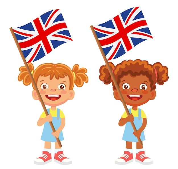 手にイギリスの旗。フラグを所持する子供は。イギリスベクトルの国旗 Premiumベクター