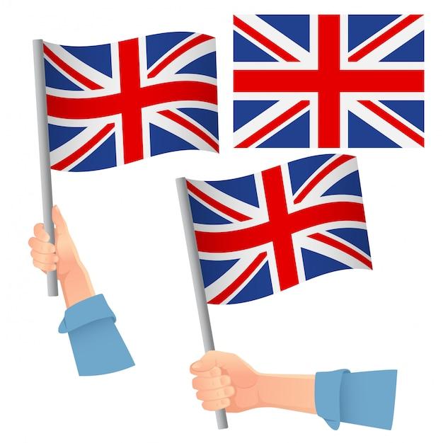 イギリスの旗を手にセット Premiumベクター